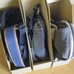 【無印良品】厳選したバッグの収納は立てて収納。ファイルボックスが活躍中。