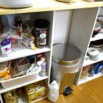 カラーボックスを使った2人暮らしのキッチン収納。ニトリの収納ボックスを使ってグループごとに収納する